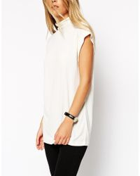 ASOS - Natural Longline Workwear Top With High Neck - Lyst