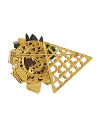 Vickisarge - Metallic Jungle Nights Gold-Plated Crystal Brooch - Lyst
