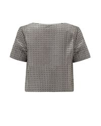 Almost Famous - Gray Quilted Crop Tee - Lyst