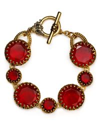 Lauren by Ralph Lauren | Red Faceted Station Flex Bracelet | Lyst