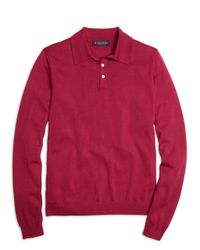 Brooks Brothers | Red Silk And Cotton Polo for Men | Lyst