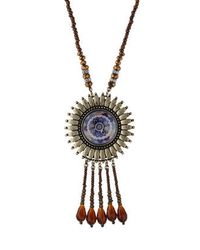 TOPSHOP | Purple Bead And Wheel Necklace | Lyst