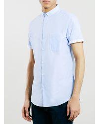 TOPMAN - Blue Texture Short Sleeve Dress Shirt for Men - Lyst