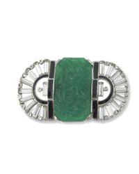 Kenneth Jay Lane | Multicolor Jade Art Deco Brooch | Lyst