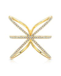 Anne Sisteron | 14kt Yellow Gold Diamond Starburst Ring | Lyst
