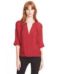 Joie - Red 'marru' Semi-sheer Silk Blouse - Lyst