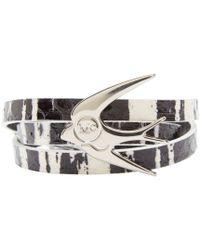 McQ | Metallic Black And White Swallow Charm Bracelet | Lyst