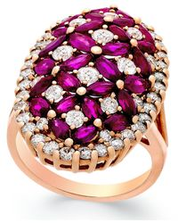 Macy's | Metallic Ruby (4 Ct. T.w.) And Diamond (1-3/4 Ct. T.w.) Ring In 14k Rose Gold | Lyst