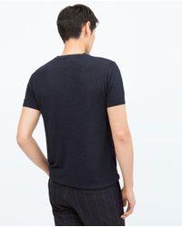Zara | Blue V-neck Polo Shirt for Men | Lyst