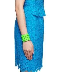 Valentino - Green Rockstud Wide Leather Bracelet - Lyst