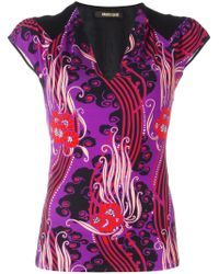 Roberto Cavalli | Multicolor V-neck Printed Blouse | Lyst