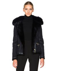 Yves Salomon | Blue Raccoon Zip Jacket | Lyst
