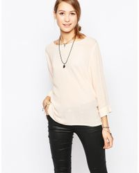 Ichi | Natural Long Sleeve Boxy Top | Lyst