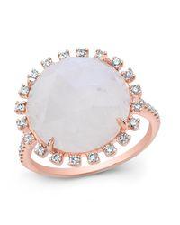 Anne Sisteron - Metallic 14kt Rose Gold Moonstone Sunburst Diamond Cocktail Ring - Lyst