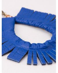 Blue Man | Blue Leather Earrings | Lyst