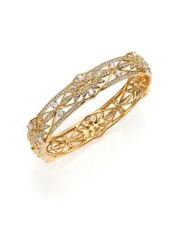 Adriana Orsini | Metallic Wisteria Pave Crystal Bangle Bracelet | Lyst