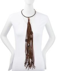 Donna Karan Brown Leather Choker Necklace with Long Tassel