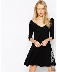 ASOS | Black Tall Skater Dress With V Front And V Back | Lyst