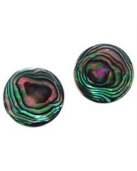 Aeravida - Multicolor Nice Round Green Abalone .925 Silver Post Earrings - Lyst