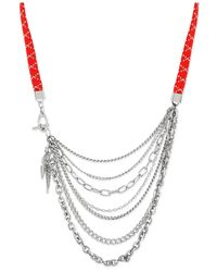 Steve Madden | Metallic Silver-tone And Stretch Cord Multi-chain And Spike Frontal Necklace | Lyst