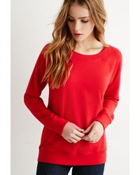 Forever 21 - Red French Terry Raglan Sweatshirt - Lyst