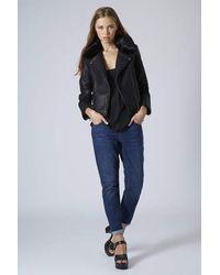 Lyst Topshop Tall Faux Fur Collar Biker Jacket In Black