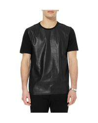 Neil Barrett | Black Faux Leather and Jersey T-shirt for Men | Lyst