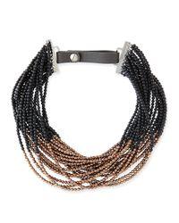 Brunello Cucinelli | Brown Agate Copper Beaded Choker Necklace | Lyst