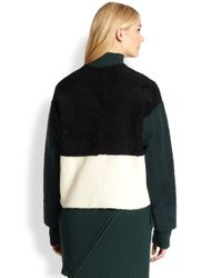 Opening Ceremony - Green Sofie Colorblock Shearling Jacket - Lyst
