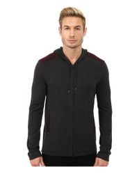 John Varvatos - Gray Zip Front Hoodie Sweater With Tonal Rivet Patches Y1189r3b for Men - Lyst