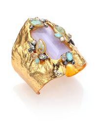 Alexis Bittar - Metallic Elements Moonlight Amazonite, Mother-Of-Pearl & Crystal Wide Baguette Cuff Bracelet - Lyst