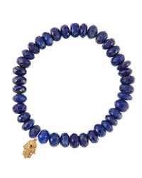 Sydney Evan | Blue Lapis Rondelle Beaded Bracelet With 14k Gold Hamsa Charm (made To Order) | Lyst