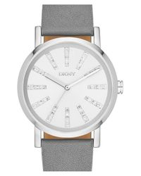 DKNY | Gray 'soho' Leather Strap Watch | Lyst