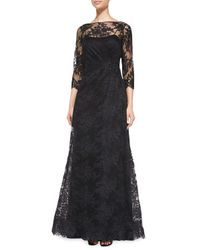 Teri Jon | Black Lace Overlay Ruched-side Gown | Lyst