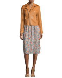 Joie - Orange Ailey Leather Moto Jacket - Lyst