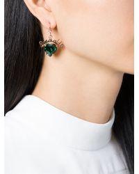 Mawi   Green 'emerald Slogan' Heart Earrings   Lyst