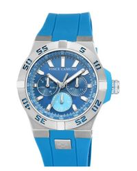 Vince Camuto - Blue Multifunction Polyurethane Strap Watch for Men - Lyst