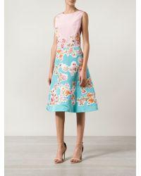 Oscar de la Renta | Pink Floral Embroidered Appliqué Dress | Lyst