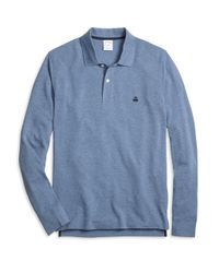 Brooks Brothers | Blue Slim Fit Long-sleeve Heathered Polo Shirt for Men | Lyst