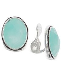 Jones New York | Blue Silver-tone Cyan Oval Crystal Clip-on Earrings | Lyst