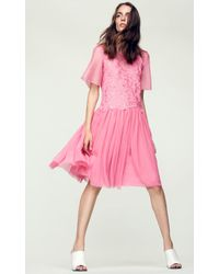Rebecca Taylor - Pink Short Sleeve Floral Embroidery Dress - Lyst