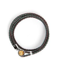 Tateossian | Metallic Double Diamond Dust Bracelet 38 Cm Silver/green Leather for Men | Lyst