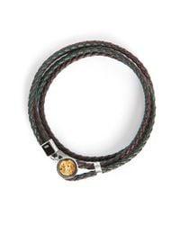 Tateossian | Metallic Double Diamond Dust Bracelet 38 Cm Silver/green Leather for Men | Lyst