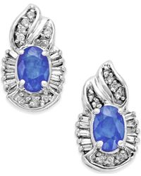 Macy's - Blue Tanzanite (1 Ct. T.w.) And Diamond (1/4 Ct. T.w.) Oval Earrings In 14k White Gold - Lyst