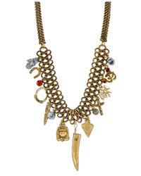Tru. - Metallic Gold-tone Multi-charm Frontal Necklace - Lyst