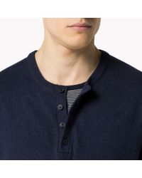Tommy Hilfiger | Blue Wool Cotton Blend Henley for Men | Lyst