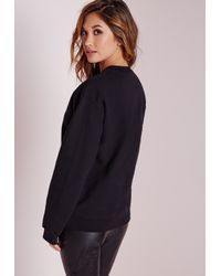 Missguided - I'm Very Expensive Slogan Sweater Black - Lyst