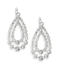 Ak Anne Klein | Metallic White Stone Two-row Drop Earrings | Lyst