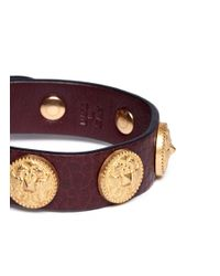 Valentino | Red Gryphon Stud Leather Bracelet | Lyst