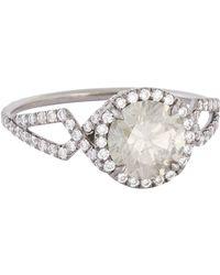 Mp Mineraux - Metallic Brilliant-Cut Grey Diamond & Oxidized Platinum Ring - Lyst